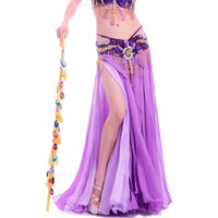 New Big Full Belly Dance Skirt Professional Expansion Bellydance Dress Performance Costume 2 Slits Dual Color