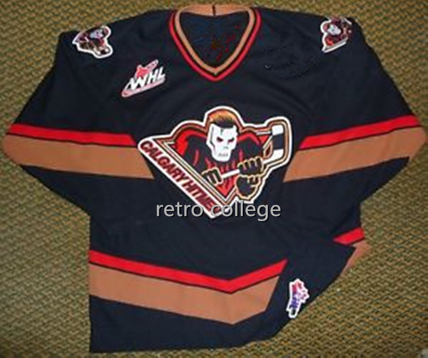 Calgary Hitmen Black Ice Hockey Jersey Men's Embroidery Stitched Customize any number and name Jerseys black pistol fire calgary