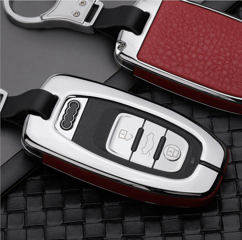 High Quality Car Keychain Case Holder Wallet Pocket For Audi A4L A6L Q5 S5 S6 A5 A6 A8 A7 FOB Smart Key Cover Accessories