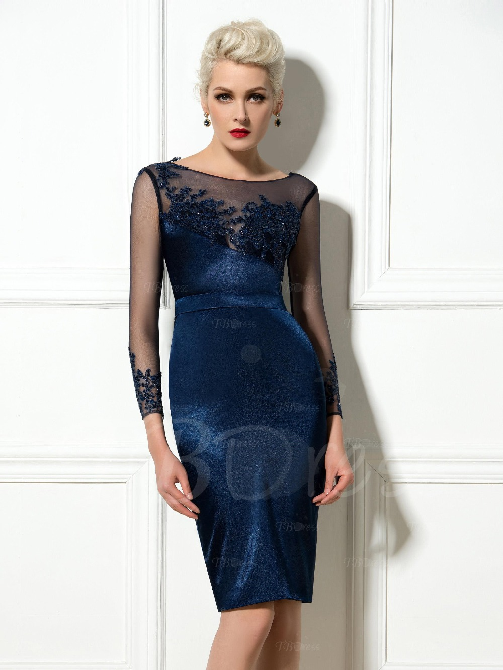 a387adf87df Sexy Blue Sheer Long Sleeve Straight Short Cocktail Dresses Illusion Neck  Lace Appliques Knee Length Satin Prom Evening Gowns