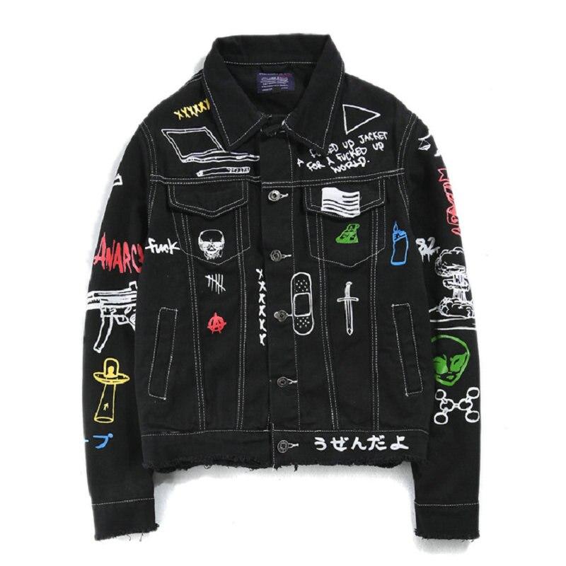 Хип хоп Модная Джинсовая куртка с принтом, мужская хлопковая Повседневная Уличная Короткая Стильная джинсовая куртка, пальто для мужчин, ве