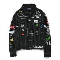 Хип-хоп Модные Печатные джинсовые куртки для мужчин хлопок Повседневная Уличная Осенняя новая джинсовая куртка пальто для мужчин