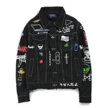 ヒップホップファッションプリントジーンズジャケット男性綿カジュアルストリートショートスタイルデニムジャケットコート男性のための春の新女性ジャケット