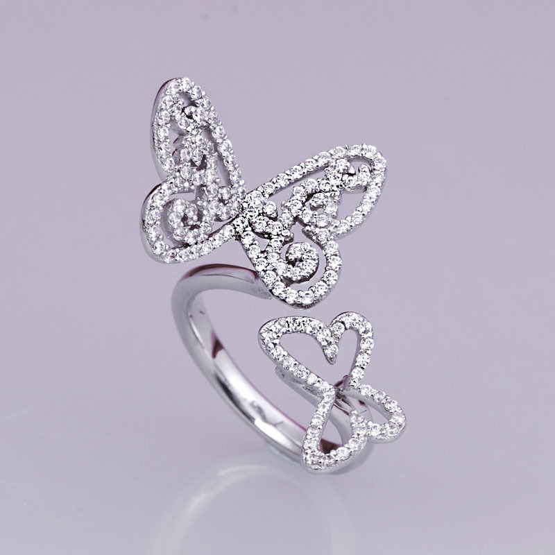925 sterling silver synthetic diamond ring silver butterfly ring jewelry US size from 4 to 10.5 (DFE)