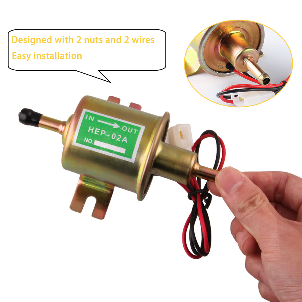 Image 5 - Fuel Pump 12v Electric Petrol Pump Low Pressure Bolt Fixing Wire Diesel HEP 02A Set Metal Gold Silver 8mm FP009-in Fuel Pumps from Automobiles & Motorcycles