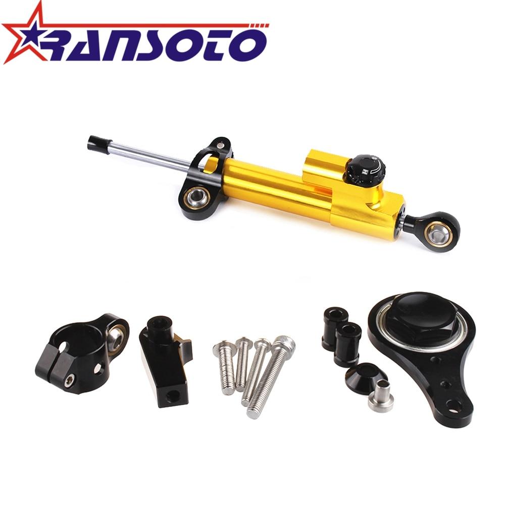 RANSOTO Motorcycle Steering Damper Stabilizerlinear Linear Stabilizer Bracket Kit for Kawasaki ZX6R ZX 6R 2005 2006