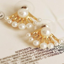 лучшая цена wholesale 2Pair 4PC Korean jewelry wholesale pearl earrings fashion after the size of the Pearl Earrings