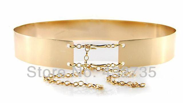 новая мода розничной 2014 золота металлическую пластину зеркало с цепи старинные женский пояс высокого широкий пояс для женщин, бесплатная доставка!