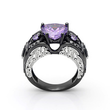 Female Heart Purple Green Ring Fashion White & Black Gold Filled Jewelry Vintage Wedding Rings For Women Birthday Stone Gifts