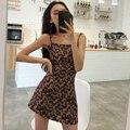 Mazefeng 2019 nova primavera verão mulheres sexy magro cinta de espaguete feminino vestido de leopardo casual senhoras a linha mini vestidos femininos