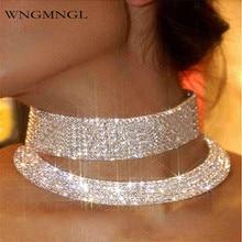 WNGMNGL 2018 New Arrival Fashion Rhinestone Choker Necklaces For Women Metal Multi-Layer Maxi Statement Bib Collar Jewelry 1pcs