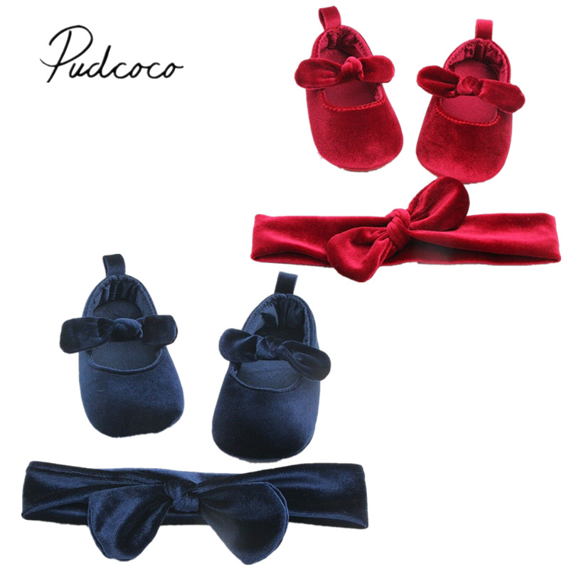 Baby Shoes Prewalker Hairband Velvet Soft-Sole Toddler Newborn Cute Bowknot 0-18M