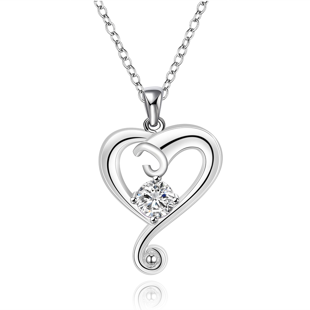 2015 new 925 sterling silver jewelry loverly hollow heart link white stone pendant necklace women wedding