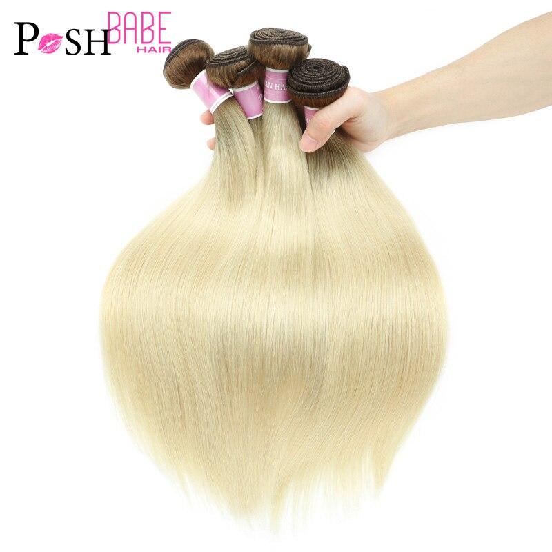 POSH BABE T8/613 Bal Sarışın Brezilyalı Düz Saç Demeti Atkı Remy Saç Dokuma insan saç demeti 10-30 inç ücretsiz Kargo