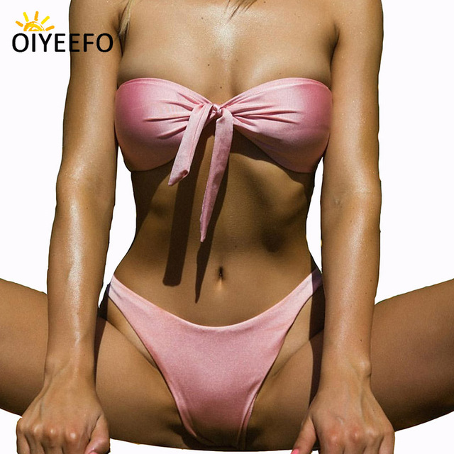 77061c7af2 Oiyeefo 2018 Sexy Strapless Bikini Bandeau Swimsuit Pink Red Knot Swimwear  Female Plain High Cut Beach Bathing Suits Tied Plavky
