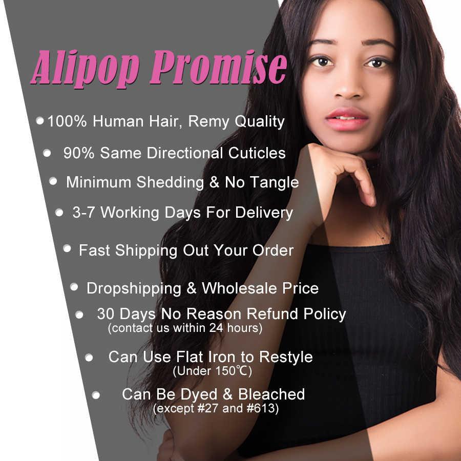 Alipop волосы предварительно сорванные 13X4 уха до уха кружева фронтальное закрытие Remy бразильские волнистые волосы 100% человеческие волосы кружева фронтальное закрытие