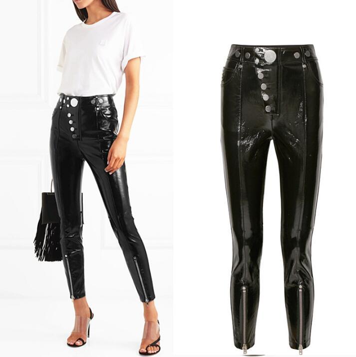add5edb489 Pantalones Cuero Mujer increase Negro Ajustado Pu De Punk Alta Length  Estilo Cremallera Botón Cintura Nueva ...
