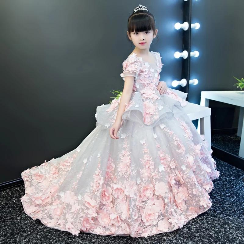 Нарядные платья для девочек 2017 г. элегантные летние с коротким рукавом цветок длинный хвост платье принцессы для девочек детские Свадебные