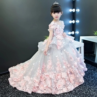 Girls Party Dresses Elegant 2017 Summer Short sleeve flower long tail princess girl dress children kids wedding birthday dresses