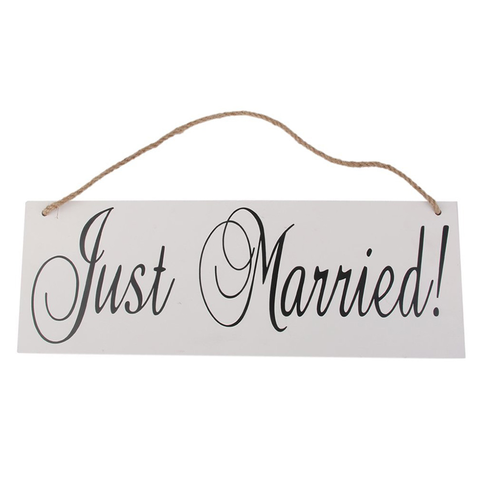 JUST MARRIED Signs With Wire Hangers Wedding Hanging Decoration Chic ...