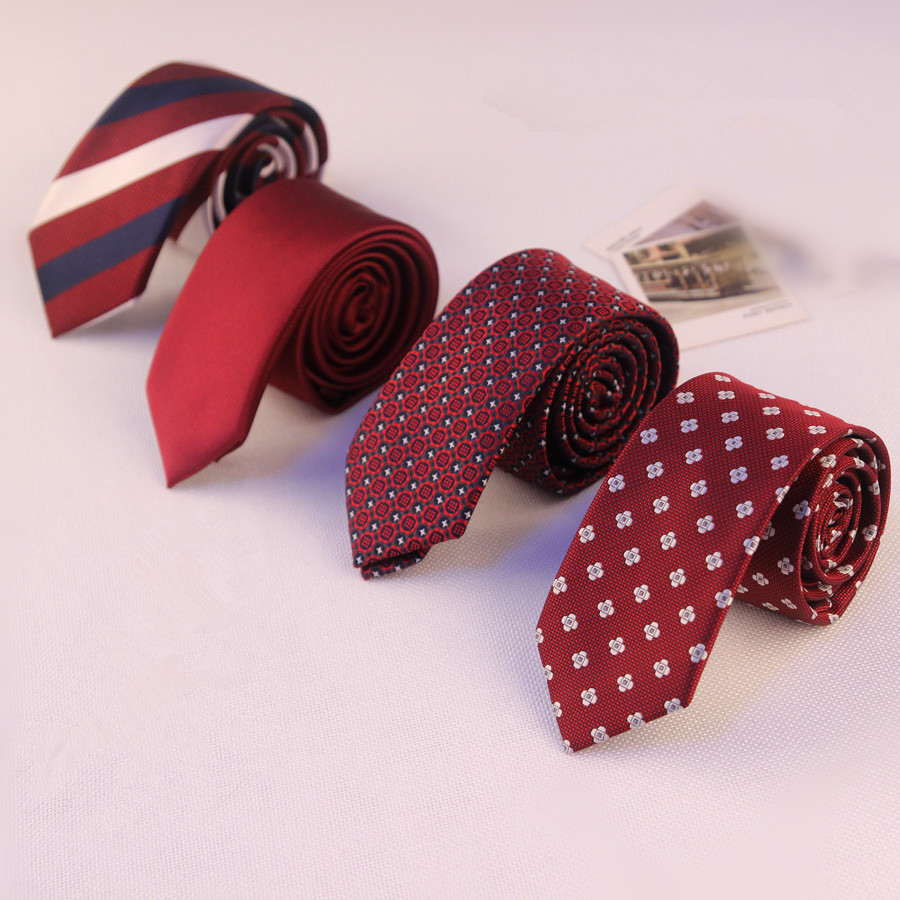 2019 Skinny Slim Ties Fashion Explosion Business Ties Men's Narrow Tie Accessories Groom Married 5CM 6CM Wine Red Black Neckties