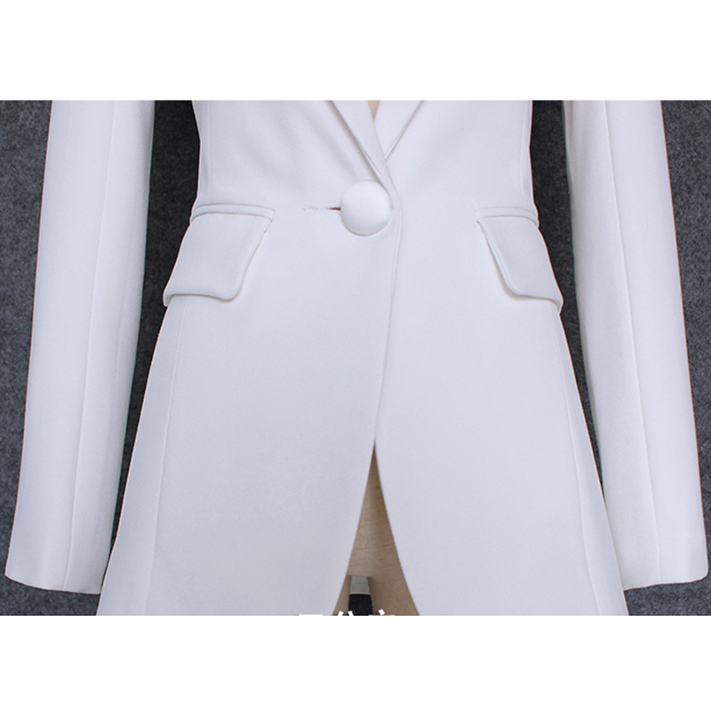 Image 5 - Qualidade superior 2020 novo designer elegante blazer feminino  encolher ombro único botão jaqueta blazer brancoBlazers   -