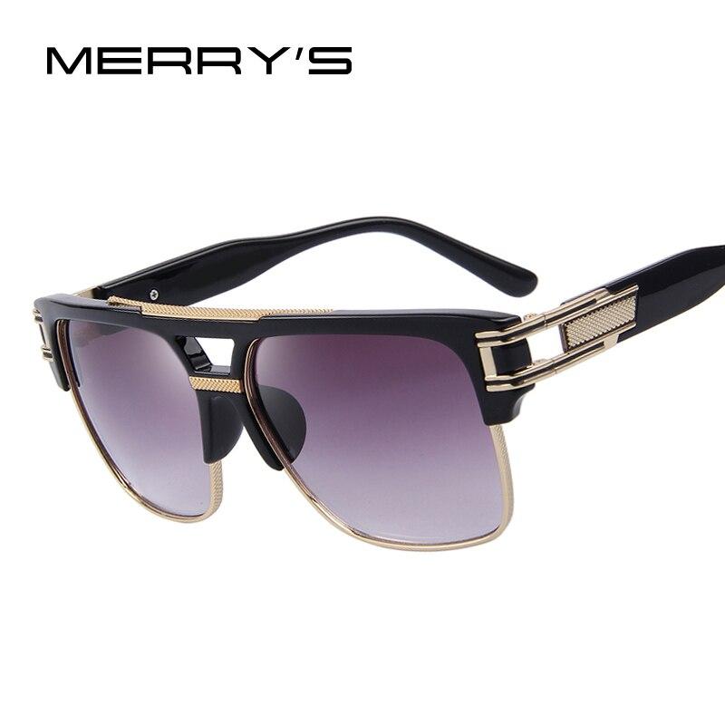 Feliz de hombres de lujo marca Gafas de sol vintage oversize cuadrado Sol Gafas mujeres Shades s'8072
