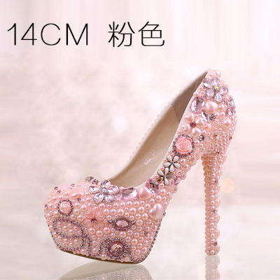 2016 The New Sweet Pink Pearl Diamond Ultra High Heels Shoes Waterproof 14cm Round Bride Wedding Shoes Flowers Dress Shoes the new 2017 white satin high with the bride shoes waterproof slipper wedding shoes picture taken single shoes for women s shoes