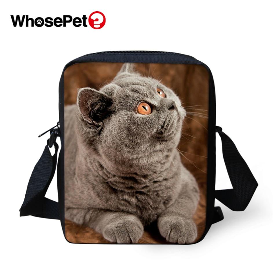WHOSEPET Clever Cat Prints Cross Body Messenger Bags Boys Shoulder Bag Cool Girls School Fashion Women Mini Flap Postbag
