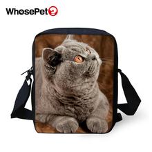 WHOSEPET Clever Cat Prints Cross Body Messenger Bags Boys Shoulder Bag Cool Girls School Fashion Women Mini Flap Postbag