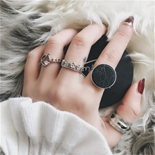 4pcs/set Marble Ring Set Women Fashion Knuckle