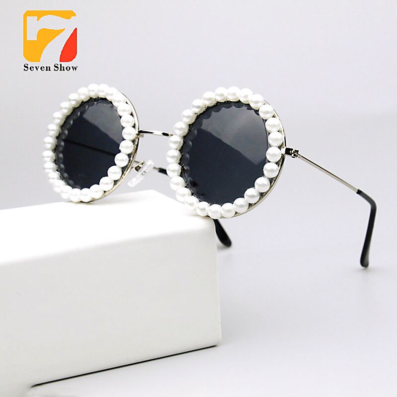 Pearl <font><b>Sunglasses</b></font> Women Round Vintage Glasses Ladies summer style travel Vacation Sun Glasses Female <font><b>Sunglasses</b></font> Oculos De Sol image