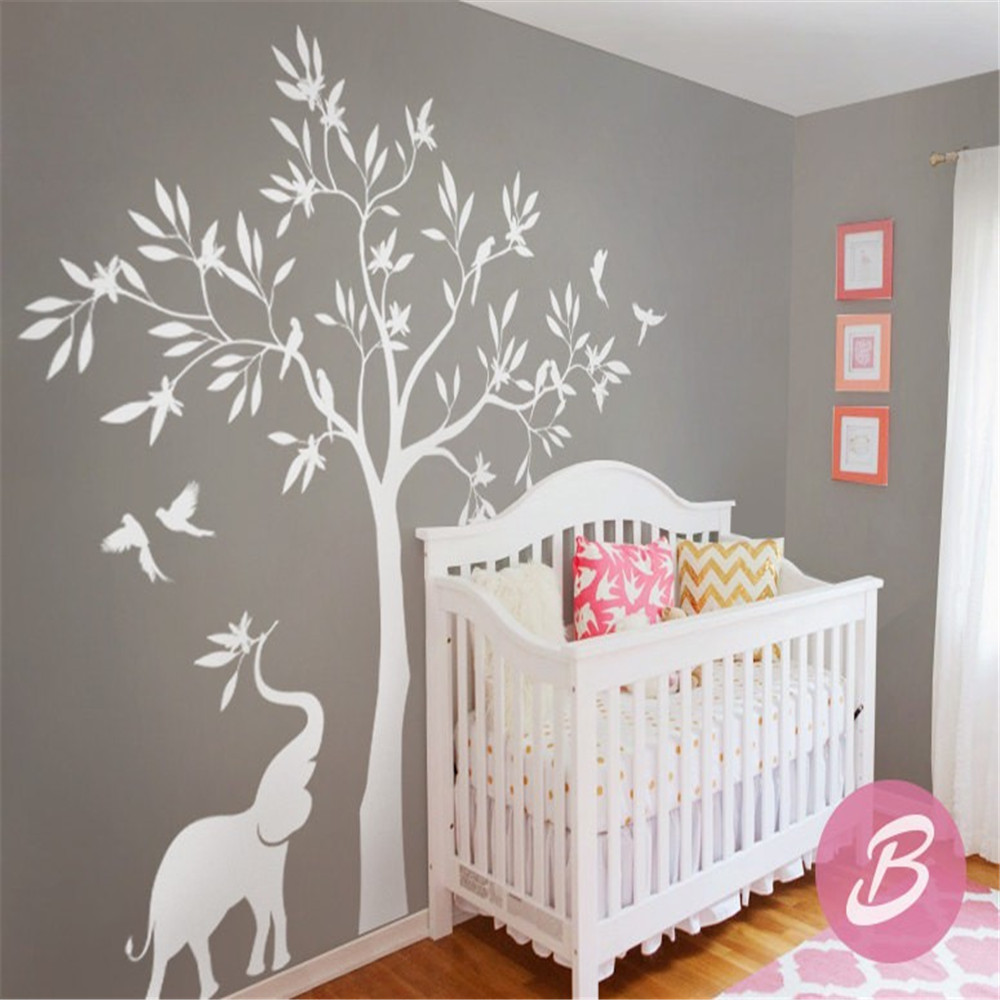 White Tree Beauty Elephant Cute Wall Mural Nursery Children Room Decorative Tree Wall Decals Huge Tree Wall Sticker