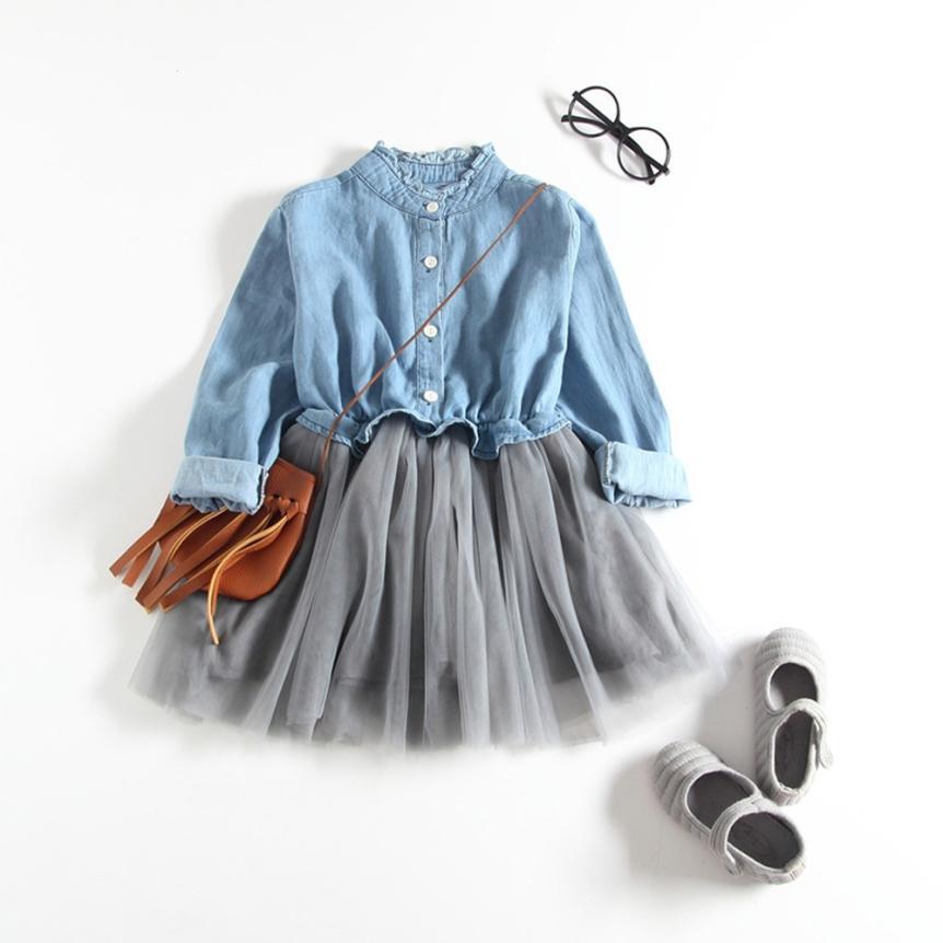 Girls denim long-sleeved mesh mosaic princess dress New Long Sleeve Small Collar Dress baby girl clothes summer YL