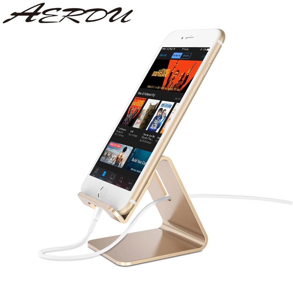 Aerdu aluminium métal téléphone support de tablette bureau universel anti-dérapant Mobile support support support pour iPhone Pad pour SamsungS8 S9
