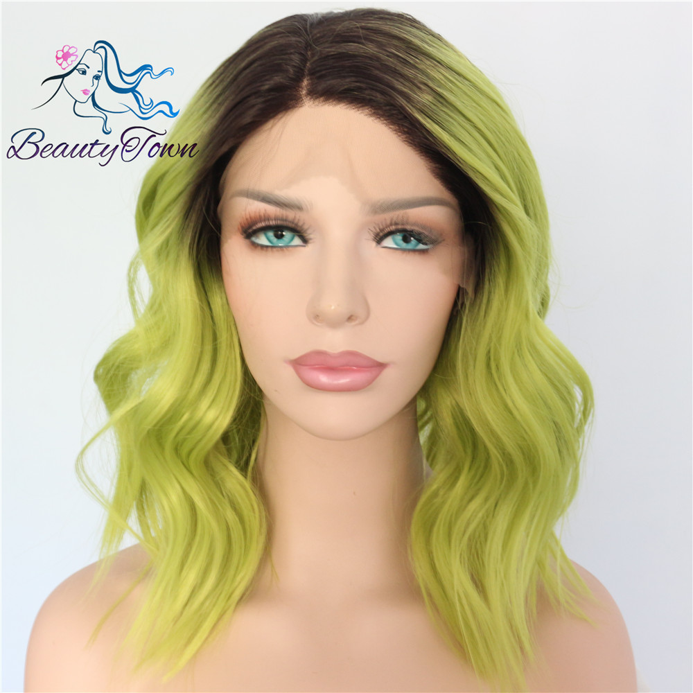 BeautyTown Black Ombre Green Short Heat Resistant Hair Cosplay Blogger Daily Makeup Synthetic Lace Front Wedding