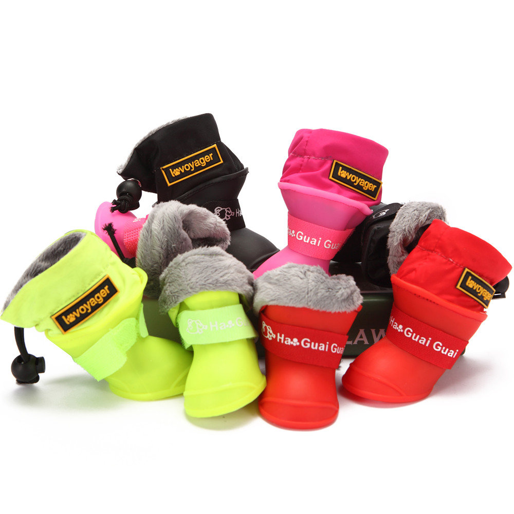 New 4pcs/Set Waterproof Dogs Shoes Soft Winter Warm Silicone Rain Dog Boots Shoes Dog Boots Bichon Teddy Puppy Pet Best Selling image