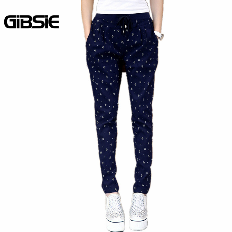 XL-5XL New Fashion Spring and Summer Women Pencil Pants Plus Size Ladies Drawstring Printed Casual Long Trousers Navy, Black