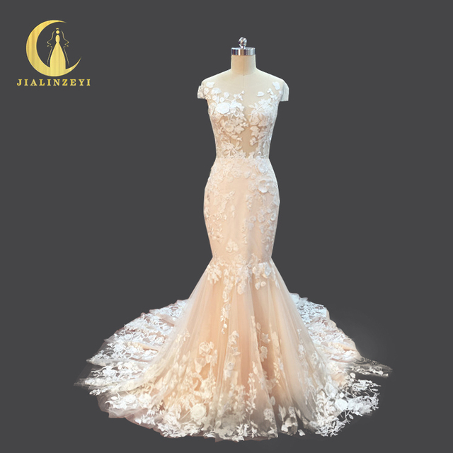 Rhine Real Picture New Arrival Lace Cap Sleeves See Through Fashion Newst Hot Sale Mermaid Bridal Wedding Dresses