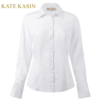 Kate Kasin White Blouse Women 2017 Spring Casual Long Sleeve Fitted Shirt Tops Femme Plus Size