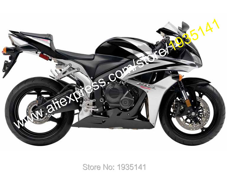 Hot Sales,For Honda CBR600RR F5 2007-2008 CBR600 RR 07/08 Black/Silver Body Works Cowl Motorcycle Fairings (Injection molding)