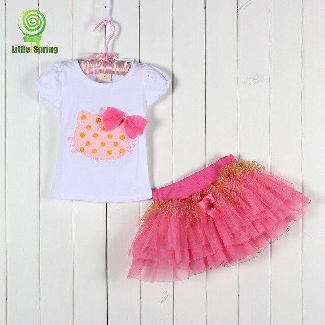 fd2d3ef15 Girls Cartoon short T-shirt + skirt setting, Hello Kitty Suit 3 colors girls  casual set +FREE SHIPPING