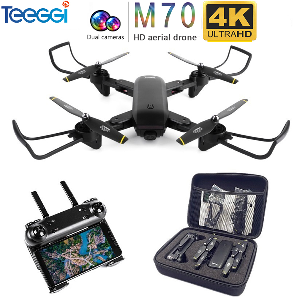 Drone Teeggi M70 RC avec caméra HD 4K caméra 1080P FPV Selfie Dron quadrirotor professionnel VS E58 VISUO XS809HW XS809S Drones