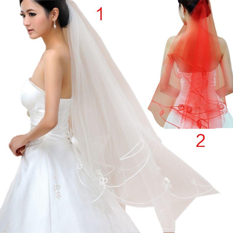 1.5M One-Layer Women Short Fingertip Length Tulle Wedding Veil Spiral Wavy Satin Ribbon Trim Solid Color Sheer Thin Bridal Veil