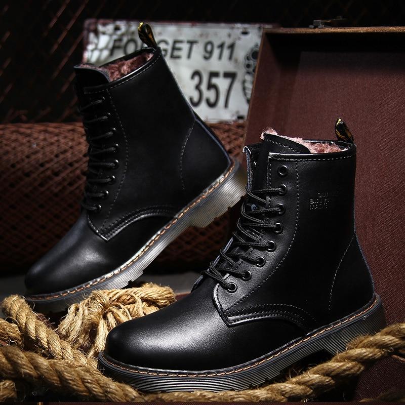 Мужчины Натуральная кожа зима снег сапоги Размер 34~44 Русский стиль ручной работы теплый плюс Размер мужчины зимняя обувь высокого качества ZH069