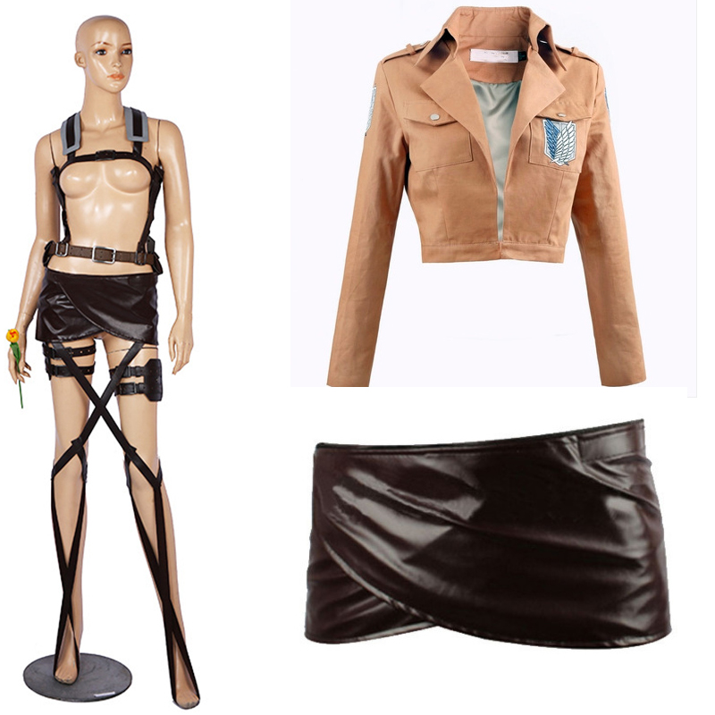 Cosfans New  Attack On Titan Cosplay Shingeki No Kyojin Mikasa Ackerman Cosplay Costume Shawl Belt Suit Leather Shorts Full Sets