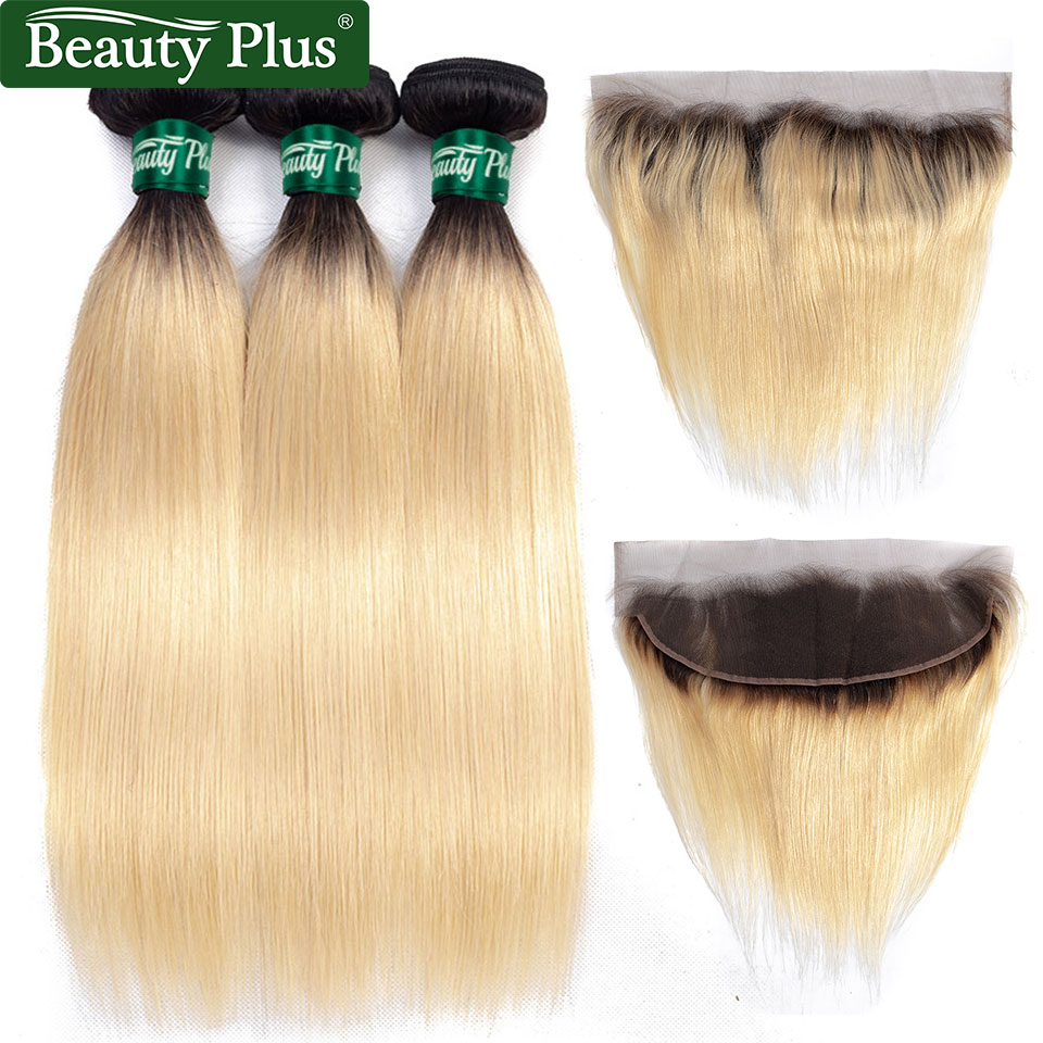 BP 613 Bundles With Frontal Peruvian Hair Ombre Bundles With Closure 13x4 Inches Blonde Hair Bundles With Closure Remy Hair