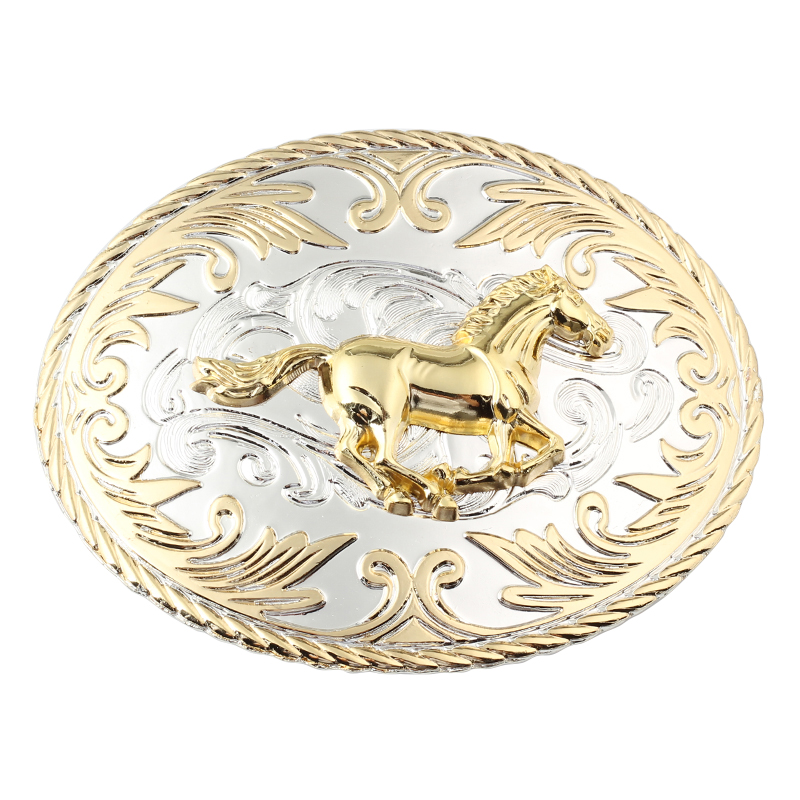 Double Color Horse Belt Buckle Golden Big Belt Buckle