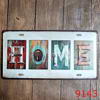 15x30 cm vintage license plates HOME retro iron painting wall sticker plaque number plate metal tin signs poster craft DECOR