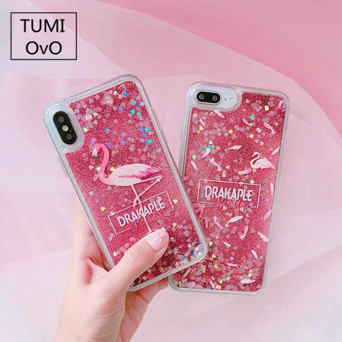 a5aebd1caa Cute Cartoon Unicorn Liquid Quicksand Glitter Case For iphone 7 8 plus  Cover for iphone 6 6s X 10 Xr Flamingos Coque Fundas